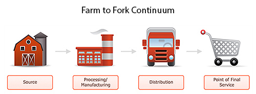 Graphic showing the farm to fork continuum.