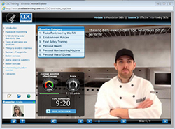 Screen shot from training module of simulated interview with food worker.