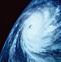 Satellite image of a hurricane from space.
