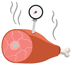 Graphic of a hambone with a thermometer in it.