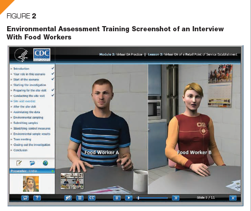 "Figure 2 is an image of a screen shot of the online environmental assessment training on food illness outbreaks. The main image is of two food workers sitting down to be interviewed by an outbreak investigator. This is part of the ""Site Visit Exercise"" portion of the training."