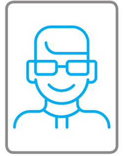 Graphic of man with glasses from UNCOVER EH infographic.