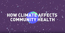 Image of a starry sky with earth in the middle and the title reads How Climate Affects Community Health