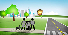Animated graphic image shows a family holding onto each other looking at an explosion in the foreground.