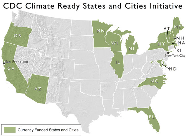 Illustration: Map of CDC Climate Ready States and Cities Initiative. Currently funded states and cities include Arizona, California, Florida, Illinois, Maine, Maryland, Massachussetts, Michigan, Minnesota, New Hampshire, New York, New York City, North Carolina, Oregon, Rhode Island, San Francisco, Vermont and Wisconsin.