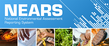 CDC's National Environmental Assessment Reporting System (NEARS) banner shows six images of various food preparation