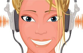 An illustration of a young woman with headphones on and smiling.