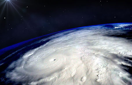 Satellite view of the eye of a hurricane