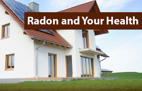 A home in a nice neighborhood with the words - Radon and your Health.