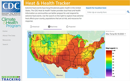 "CDC's Heat & Health Tracker is an example of the tools that are ""Powered by Tracking."""