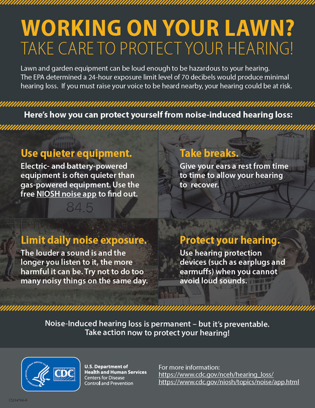 Working on your lawn? Take care to protect your hearing!