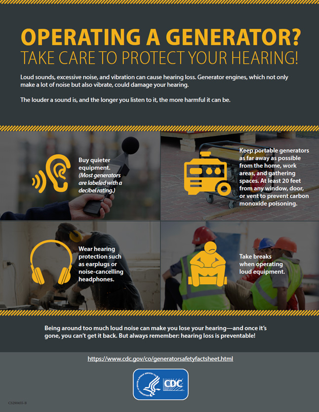 Operating a generator? Take care to protect your hearing!