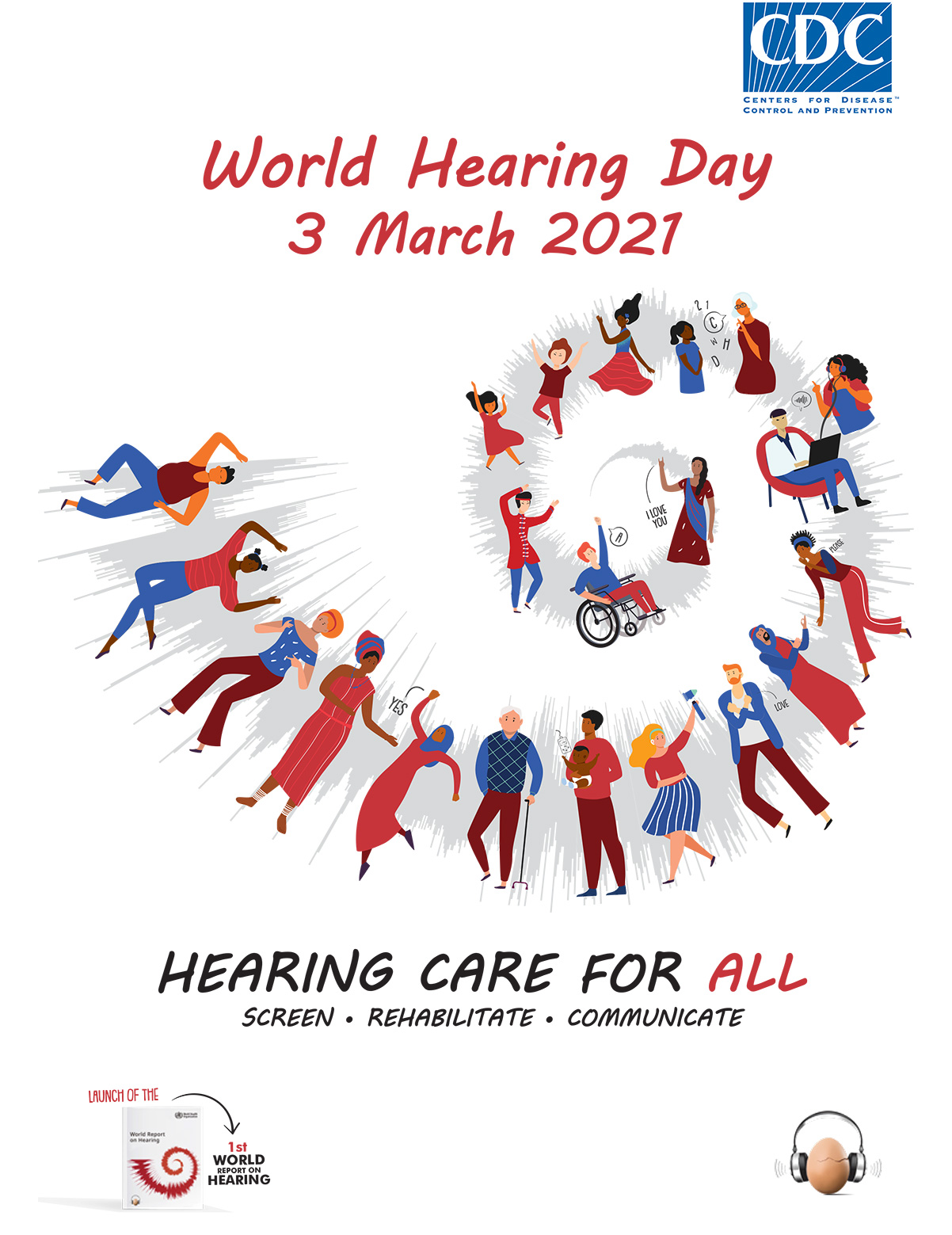 World Hearing Day March 3, 2021. Hearing care for all. Screen, rehabilitate and communicate.