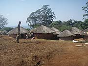 A village or round, thatched-roof homes in Malawi