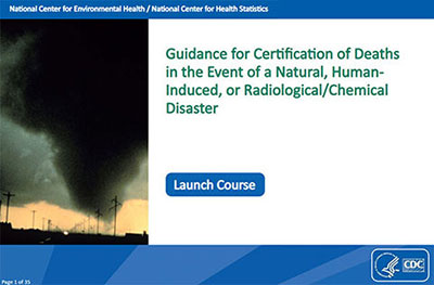 picture of first page of MODULE 5: Guidance for Certification of Deaths in the Event of a Natural, Human-Induced, or Radiological/Chemical Disaster