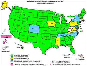 Map shows the various stages of the Electronic Death Registration upgrading now underway.