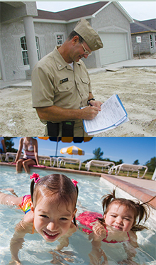 Top; inspecting property, Bottom: children in swimming pool