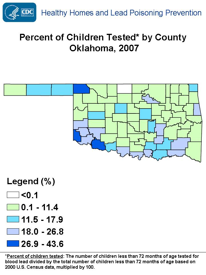 Percent of Children Tested by County Oklahoma, 2007
