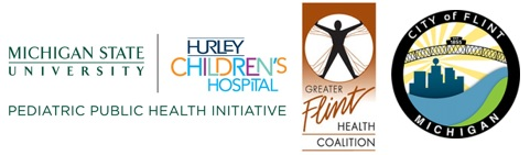 Logos for partners include Michigan State University, Greater Flint Health Coalition, City of Flint, and Hurley Children's Hospital