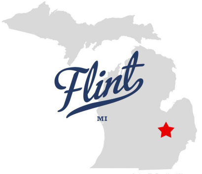 Map of Michigan with a star on the location where Flint is