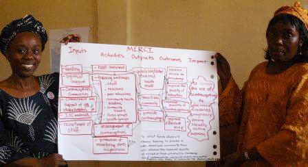 Harvard program participants from MERCI (Florence Davis and Oretha Nimely) display a logic model of their program
