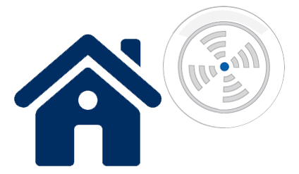 vector graphic of a house and carbon monoxide monitor