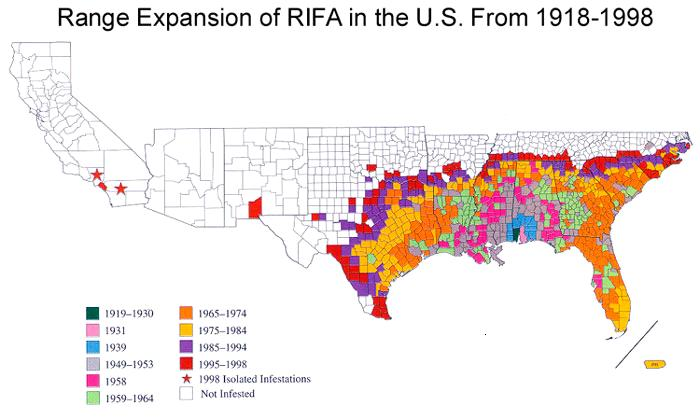 Figure 4.26. Range Expansion of Red Imported Fire Ants (RIFA)_in the United States, 1918–1998