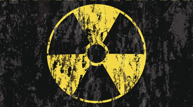 grunge radiation sign background
