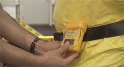 image of man with alarming dosimeter