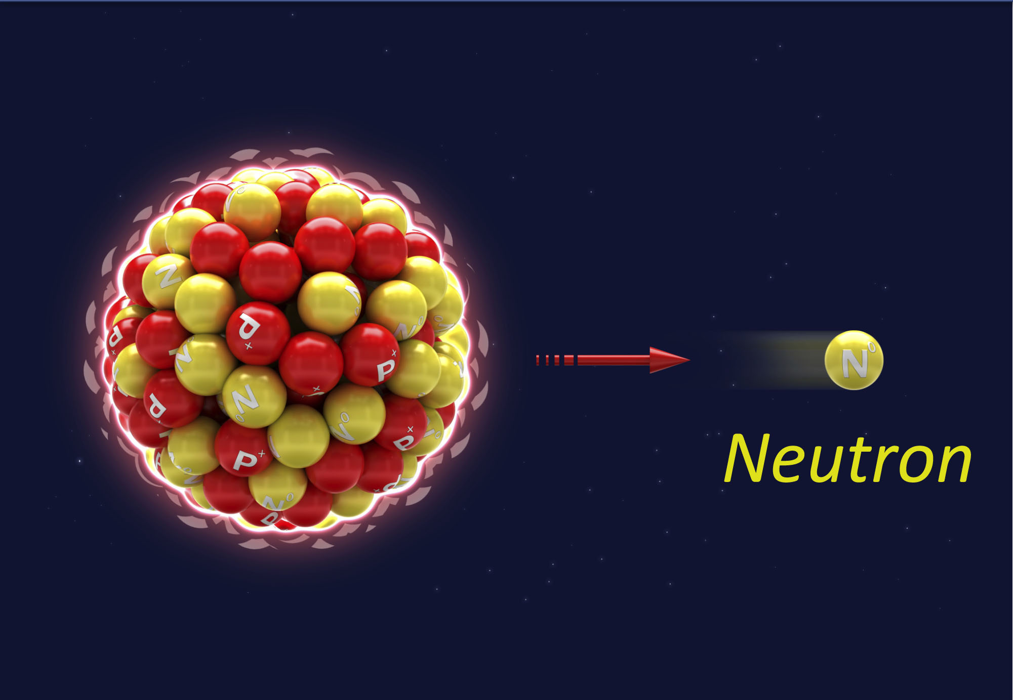 Illustration of neutron being ejected from nucleus of atom
