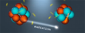 Illustration of radiation being emitted from atom