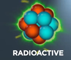 illustration of radioactive atom