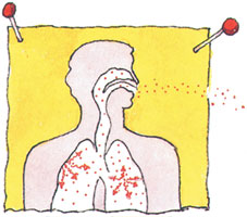 Illustration of radon entering the nose and mouth.