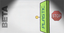 illustration of beta particles shielded by plastic