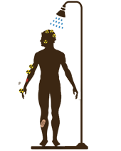 Illustration of person decontaminating with shower