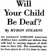 newspaper clipping ' Will your child be deaf?' by Myron Stearns