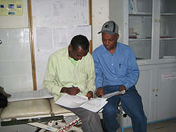 Tesfaye Bayleyegn and Hailemariam Hailemichael at regional hospital.