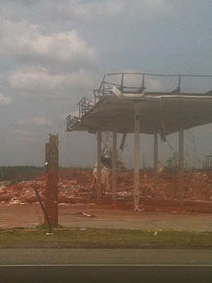 Gas station destroyed by tornado, Forestdale, AL, April 27, 2011
