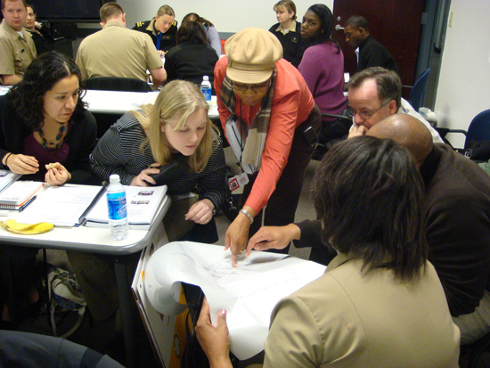 Students participate in an exercise during the EHTER course held at CDC's Chamblee Campus in March 2010.