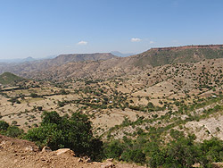 Arid, mountainous terrain of Tigray, Ethiopia.