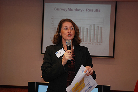 Lise Martel (International Emergency Preparedness Team lead, CDC Atlanta) speaking at emergency response training in Tunisia