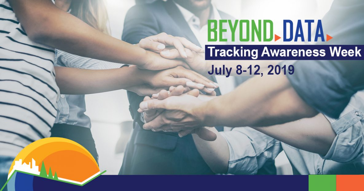 Beyond Data: Tracking Awareness Week. July 8-12, 2019; Image of people joining hands.