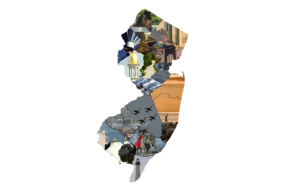 Mosaic that composes the outline of the state of New Jersey