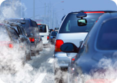 Cars stuck in traffic venting exhaust