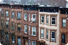 New York City buildings during snowstorm