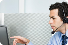 Business man talking on headset