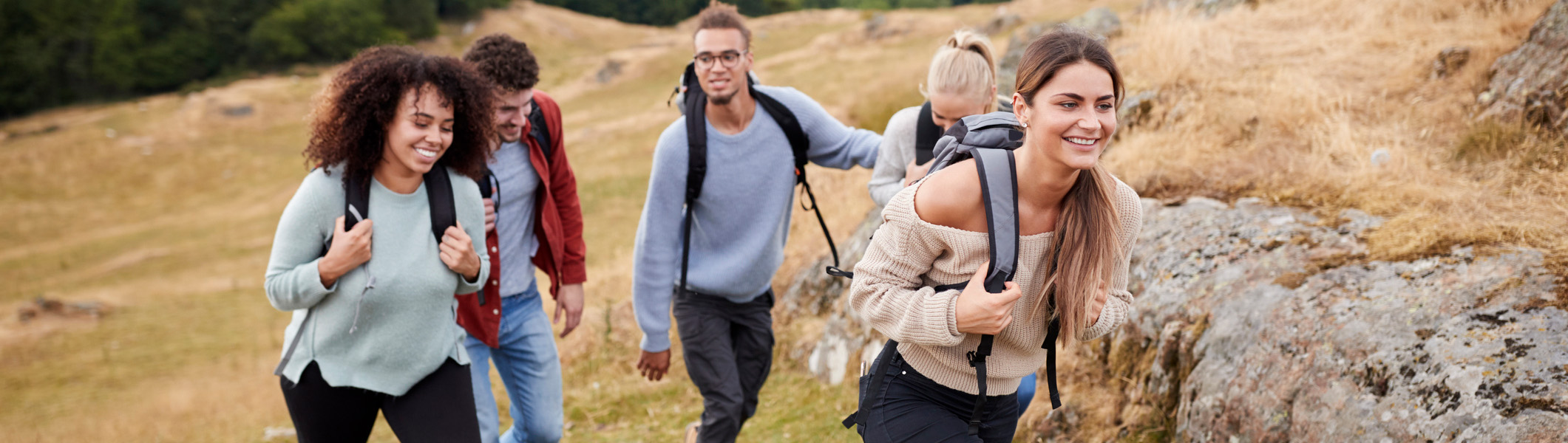 Diverse group of young adults hiking