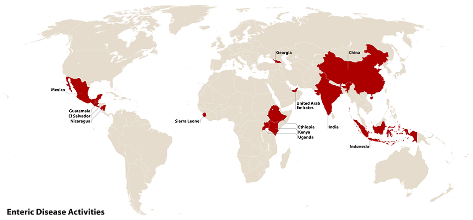 Map of countries with PulseNet activities. Countries are China, Indonesia, Ethiopia, Kenya, Guatemala, Nicaragua, El Salvador, Uganda, Sierra Leone, UAE, Georgia, India, Mexico