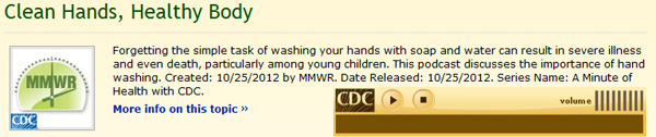 Graphic: CDC podcast discussing the importance of handwashing