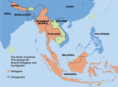 Map showing top Asian countries processing US bound refugees and immigrants. Countries are colored either red or blue. For countries colored red, they show countries where refugees are coming from: Indonesia, Malaysia, Myanman (Burma), Nepal, and Thailand. Countries colored blue for countries immigrants are coming from: Bangladesh, China, India, Philippines, and Vietnam